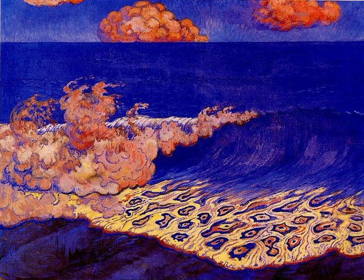 Blue seascape, Wave Effect - Georges Lacombe