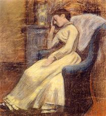 Julie Lemmen Sleeping in an Armchair - Жорж Леммен