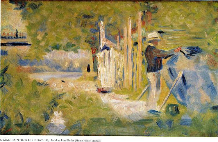Man Painting his Boat, 1883 - Georges Seurat - WikiArt org