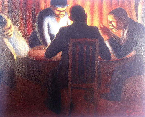 FOUR FIGURES AT A TABLE, 1942 - Gerard Sekoto