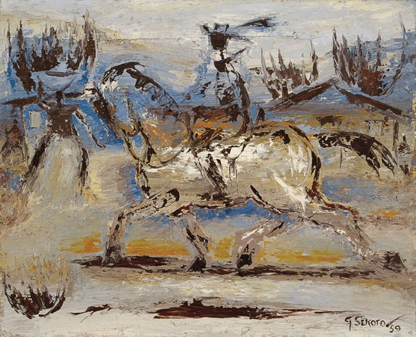Police Man on a White Horse in the Fields, 1959 - Gerard Sekoto