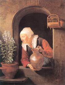 Old Woman Watering Flowers - Gerard Dou