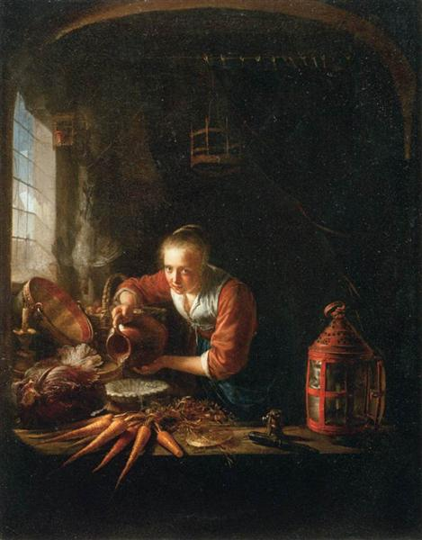 Woman Pouring Water into a Jar, c.1640 - Gerrit Dou