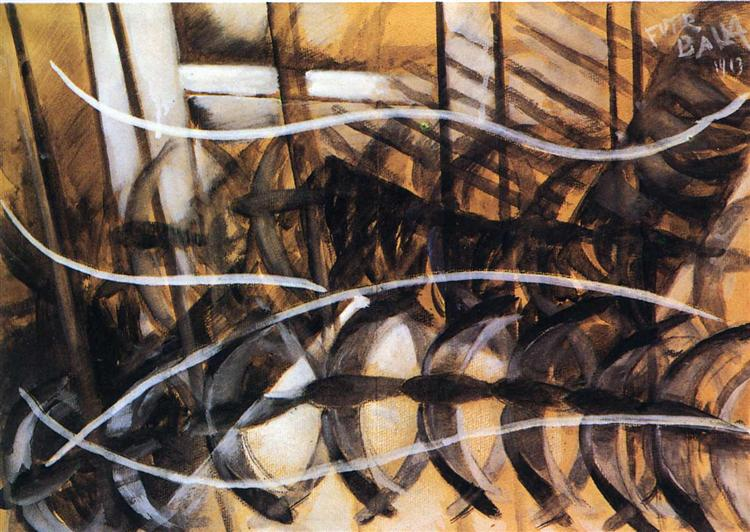 Lines of Movement and Dynamic Succession, 1913 - Giacomo Balla