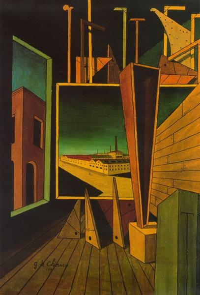 Geometric composition with factory landscape, 1917 - Giorgio de Chirico