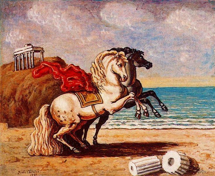 Horses and temple, 1949 - Giorgio de Chirico