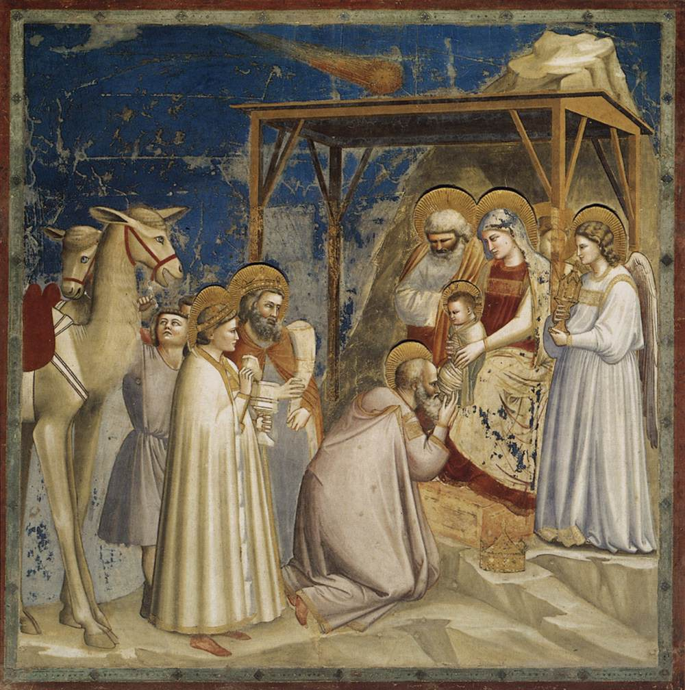 Adoration of the Magi by Giotto c. 1306. In this painting the star of Bethlehem is a comet.