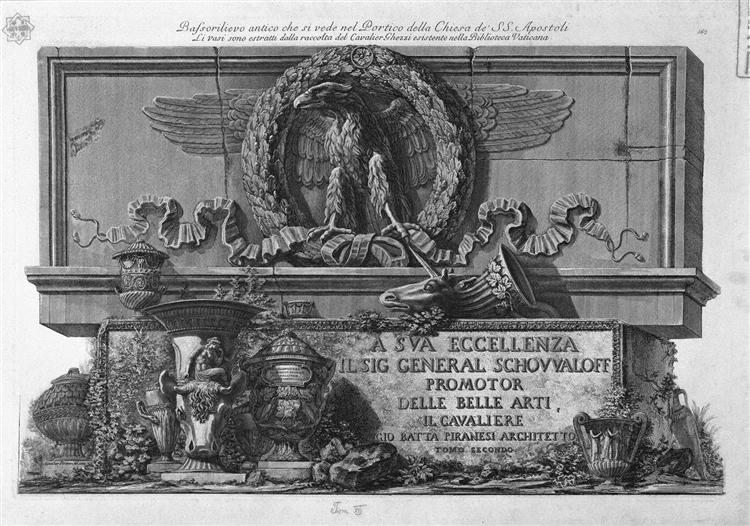 Cover Page. Above the eagle of the Holy Apostles Roman portico at the bottom of the vases in the Vatican Library Collection Ghezzi On a slab of marble, the inscription in relief., 1778 - Giovanni Battista Piranesi