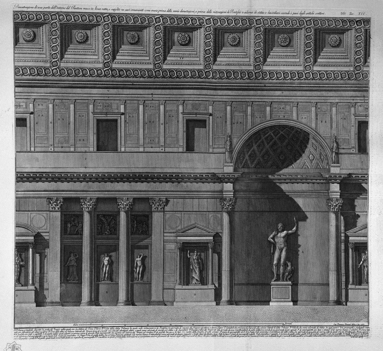 Demonstration of a part of the interior of the pantheon for Straight line interiors
