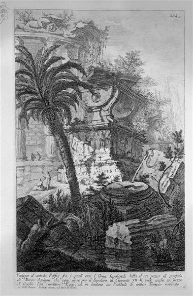 Remains of ancient buildings including the Urn Burial Evvia porphyry of Marcus Agrippa - Giovanni Battista Piranesi