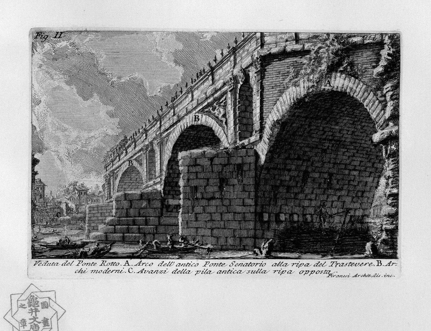 The Roman antiquities, t. 1, Plate XX. Ponte Rotto., 1756