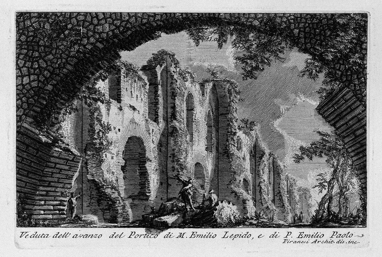 The Roman antiquities, t. 1, Plate XX. Portico of Marcus Aemilius Lepidus and P. Aemilius Paulus., 1756