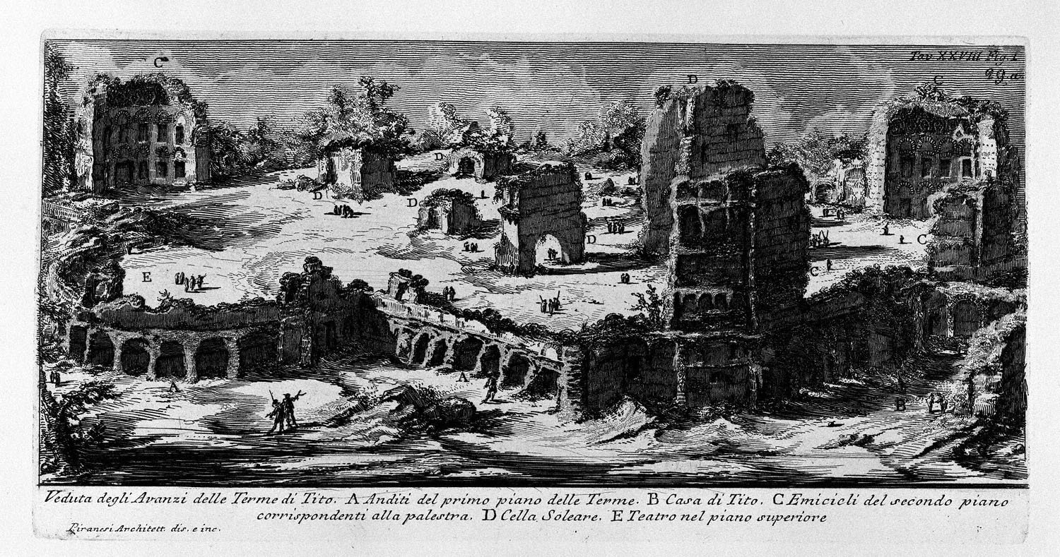 """The Roman antiquities, t. 1, Plate XXVIII. """"Baths of Titus"""" (really the Baths of Traianus)., 1756"""