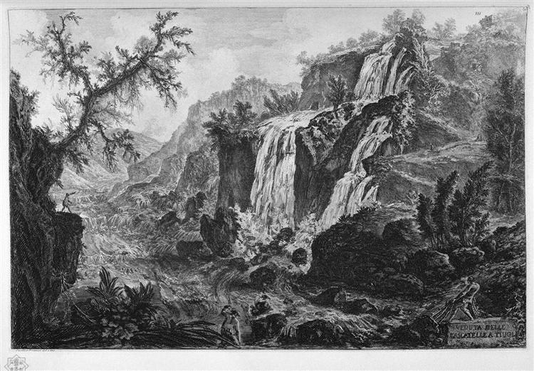 View of the waterfalls at Tivoli - Giovanni Battista Piranesi