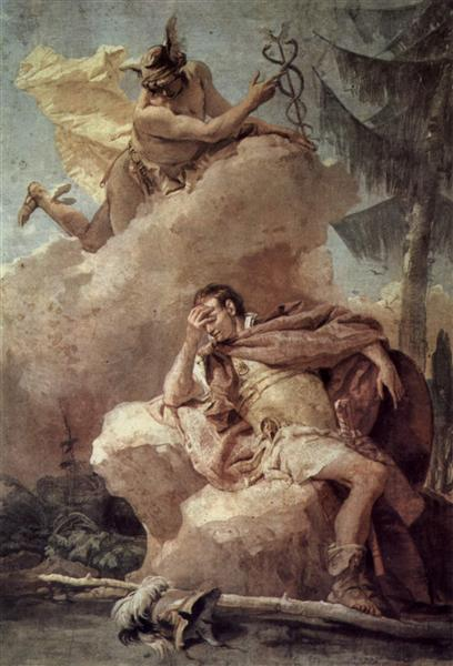 Mercury, from Mercury Exhorting Aeneas to Leave Carthage, 1757 - Giovanni Battista Tiepolo