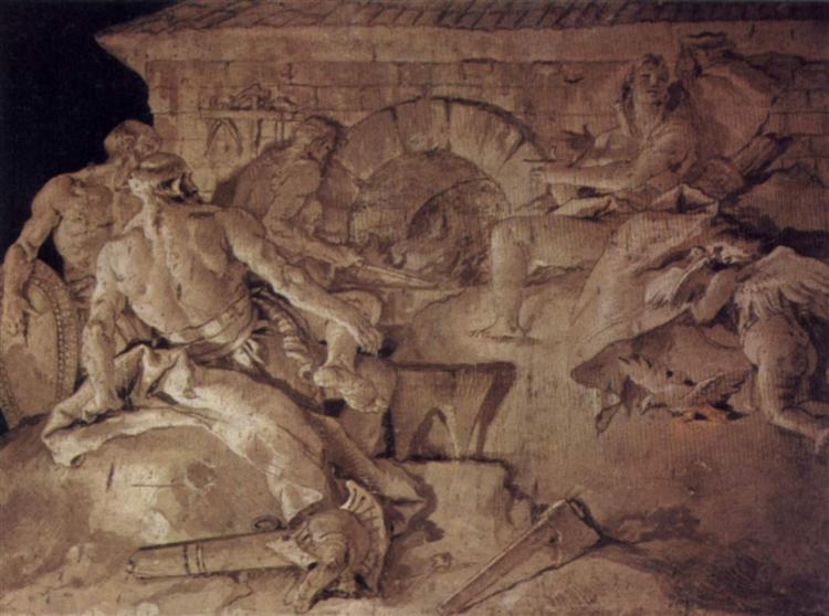 Venus asks Vulcan to forge an armor for Aeneas, 1757 - Giovanni Battista Tiepolo
