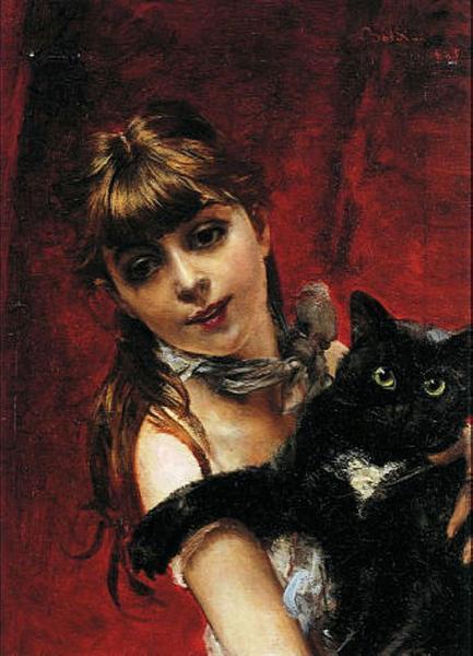 Girl with Black Cat - Boldini Giovanni