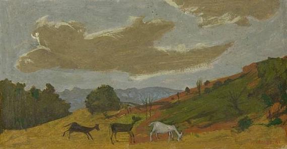 Goats grazing in a landscape, 1961 - Grégoire Michonze