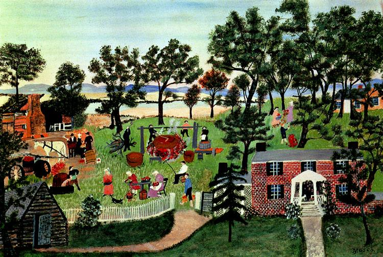 Apple Butter Making, 1944 - 1947 - Grandma Moses