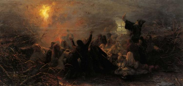 People burning themselves, 1884 - Grigoriy Myasoyedov