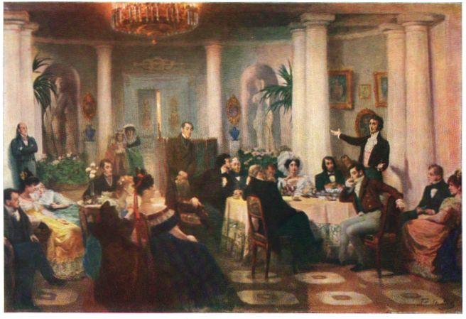 Pushkin and his friends listen to Mickiewicz in the salon of Princess Zinaida Volkonskaya, 1907 - Grigoriy Myasoyedov