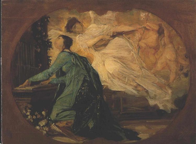 Female organ player, 1885 - Gustav Klimt