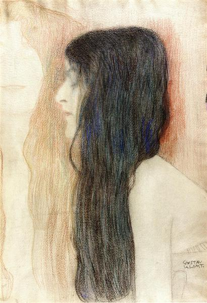 Girl with Long Hair, with a sketch for 'Nude Veritas', 1898 - 1899 - Gustav Klimt
