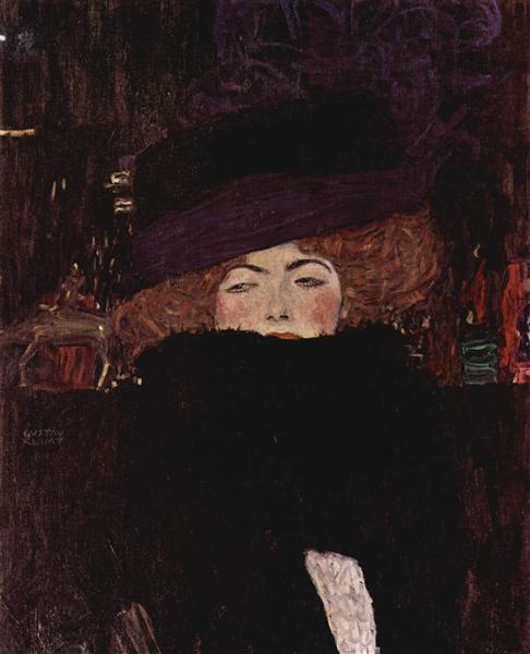 Lady with Hat and Featherboa - Klimt Gustav