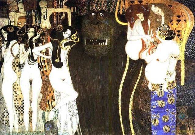 The Beethoven Frieze: The Hostile Powers. Left part, detail, 1902 - Gustav Klimt