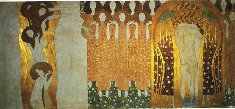 The Beethoven Frieze: The Longing for Happiness Finds Repose in Poetry. Right wall, 1902 - Gustav Klimt