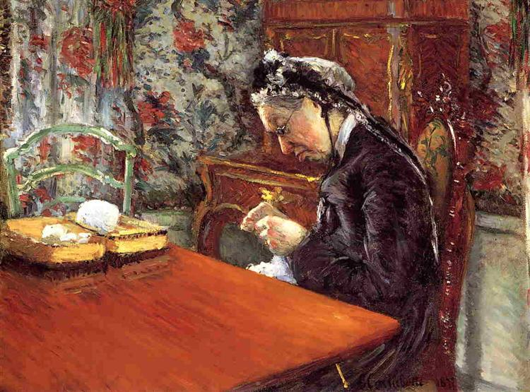 Portrait of Mademoiselle Boissiere Knitting, 1877 - Gustave Caillebotte