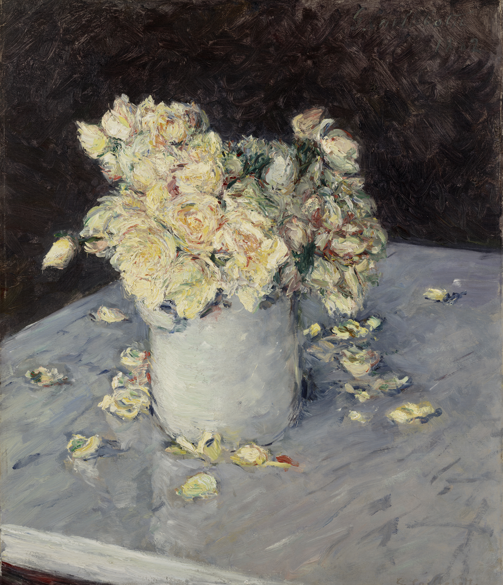 Yellow Roses in a Vase, 1882