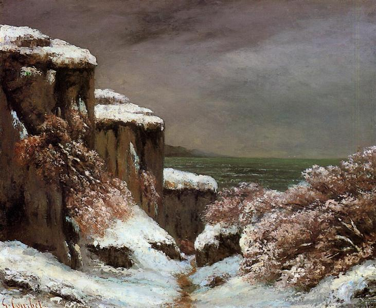 Cliffs by the Sea in the Snow, 1870 - Gustave Courbet