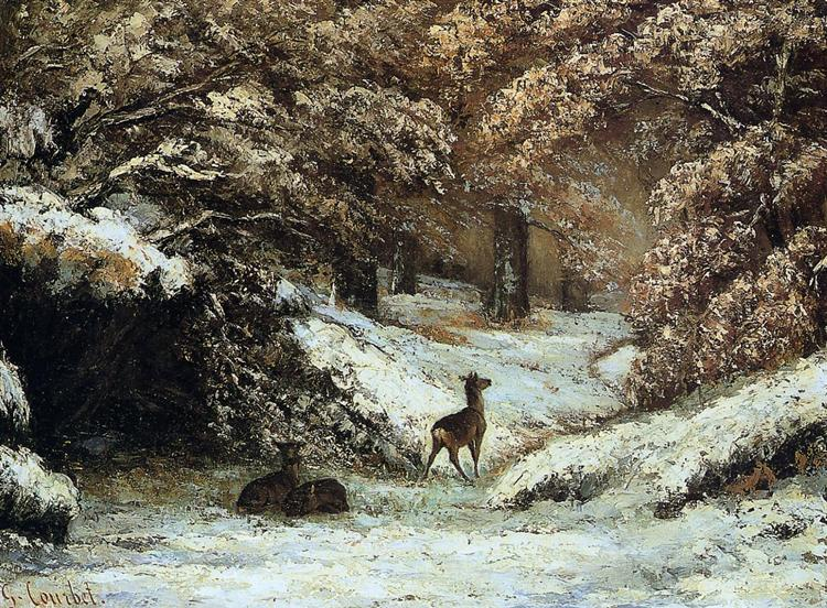 Deer Taking Shelter in Winter, 1866 - Gustave Courbet