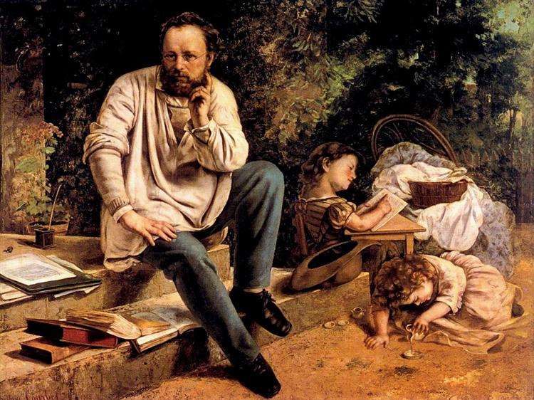 Pierre Joseph Proudhon and his children in 1853, 1853 - 1865 - Gustave Courbet