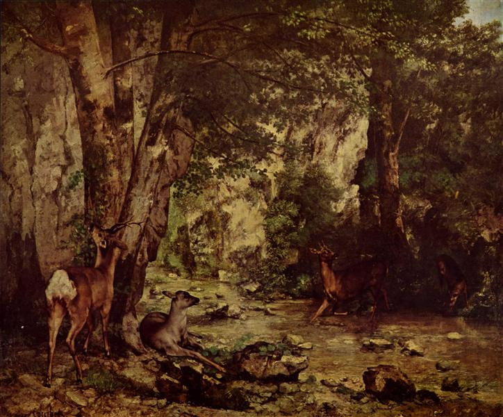 The Return of the Deer to the Stream at Plaisir Fontaine, 1866 - Gustave Courbet