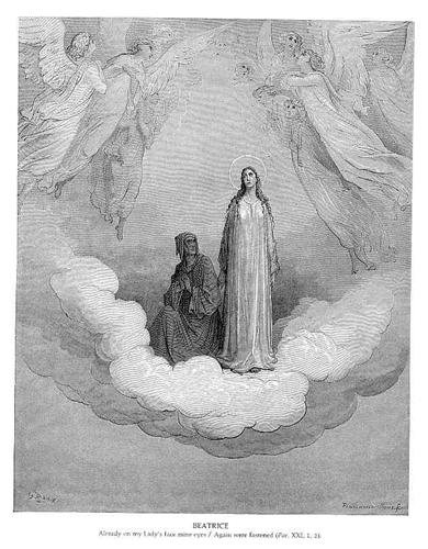 Dantes elskede Beatrice, som hun er tegnet af Gustav Doré.