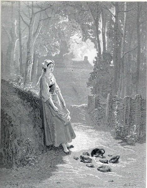 Illustration for The Milkmaid and the Milk Can - Dore Gustave