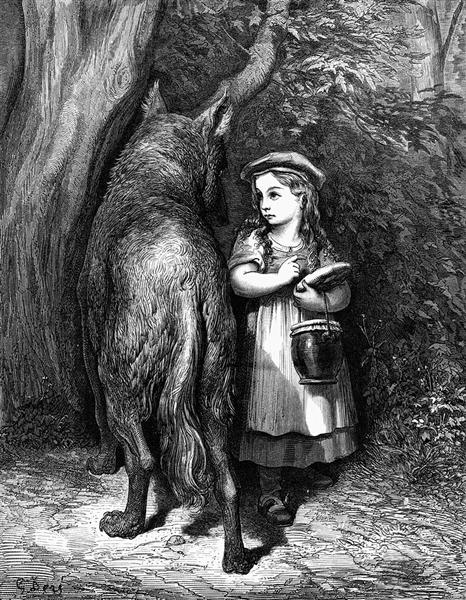 Red Riding Hood meets old Father Wolf - Dore Gustave