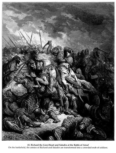 Richard I the Lionheart in battle at Arsuf in 1191 - Gustave Dore