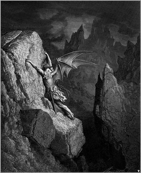 Satan's Flight Through Chaos - Dore Gustave