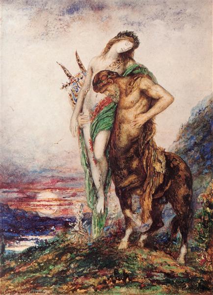 Dead poet borne by centaur, c.1890 - Gustave Moreau
