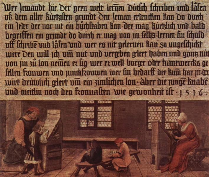 Principles of a schoolmaster, teaching scene for children, 1516 - Hans Holbein the Younger