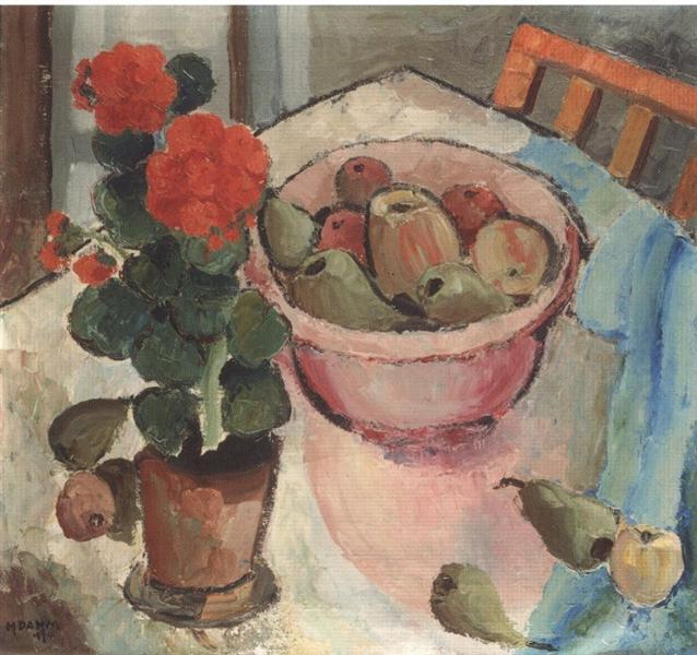 Stillleben mit Geranien und Schale, 1950 - Helen Dahm