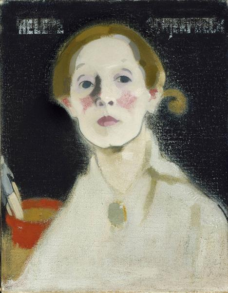 Self-portrait with Black Background - Helene Schjerfbeck