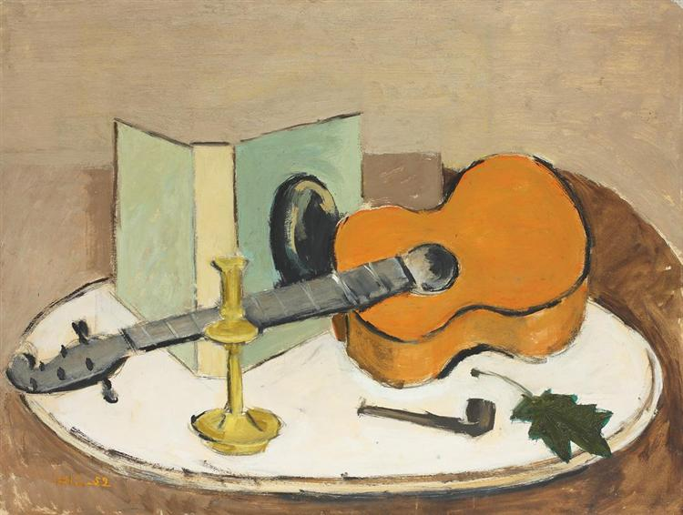 Still Life With Guitar and Pipe, 1959 - Henri Catargi
