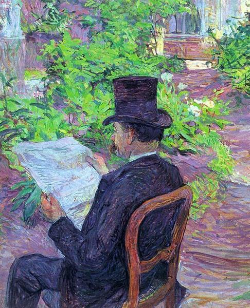 Desire Dehau Reading a Newspaper in the Garden, 1890 - Henri de Toulouse-Lautrec