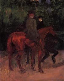 Man and Woman Riding through the Woods - Henri de Toulouse-Lautrec
