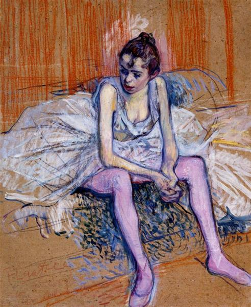 Seated Dancer in Pink Tights, 1890 - Henri de Toulouse-Lautrec