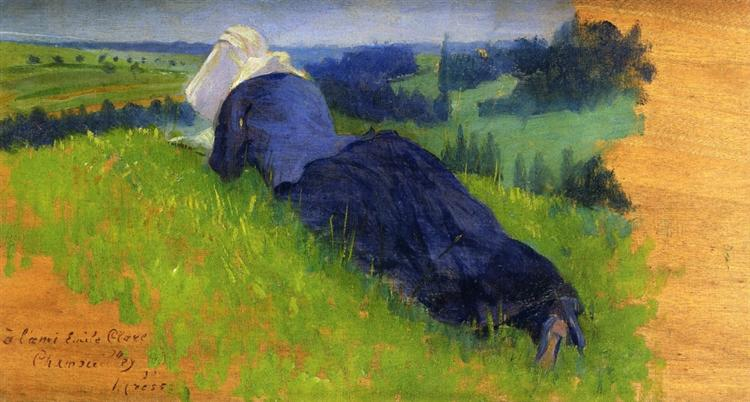 Peasant Woman Stretched out on the Grass, 1890 - Henri-Edmond Cross